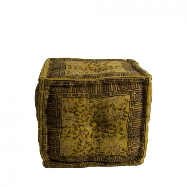 Pouf vintage Indian Block vert