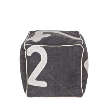 Pouf carré tissu gris Figures