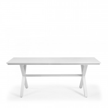 Table de jardin design aluminium blanc Shellyn