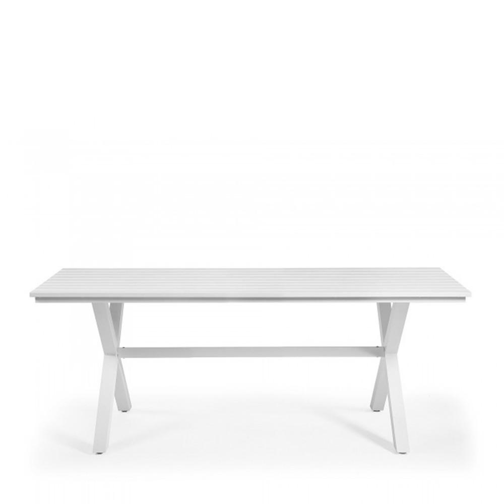 Table manger de jardin blanche en aluminium shellyn by drawer - Table jardin blanc versailles ...