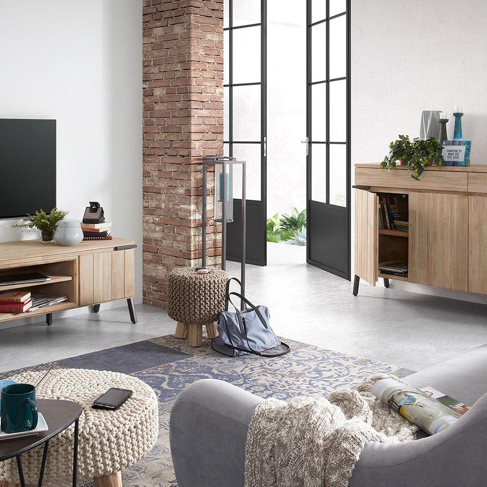 Meuble Tv Bois Massif Et M Tal 2 Tiroir 1 Porte Spike By Drawer # Meuble Tv Bois Massif Design
