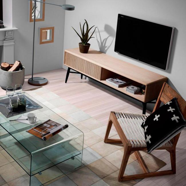 Meuble TV design bois chêne 1 porte coulissante Ray