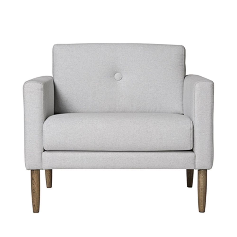 fauteuil design tissu gris clair calm bloomingville. Black Bedroom Furniture Sets. Home Design Ideas