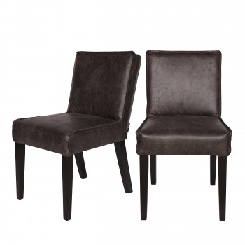 2x chaise vintage en cuir Wayne