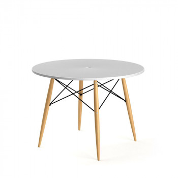 Table design ronde Skoll blanche