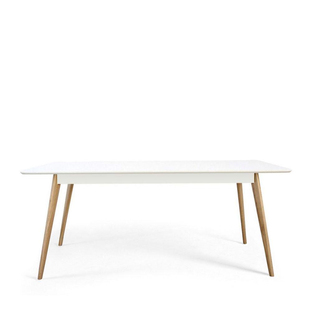 Table manger scandinave en bois skoll by drawer for Table a manger laque blanc et bois