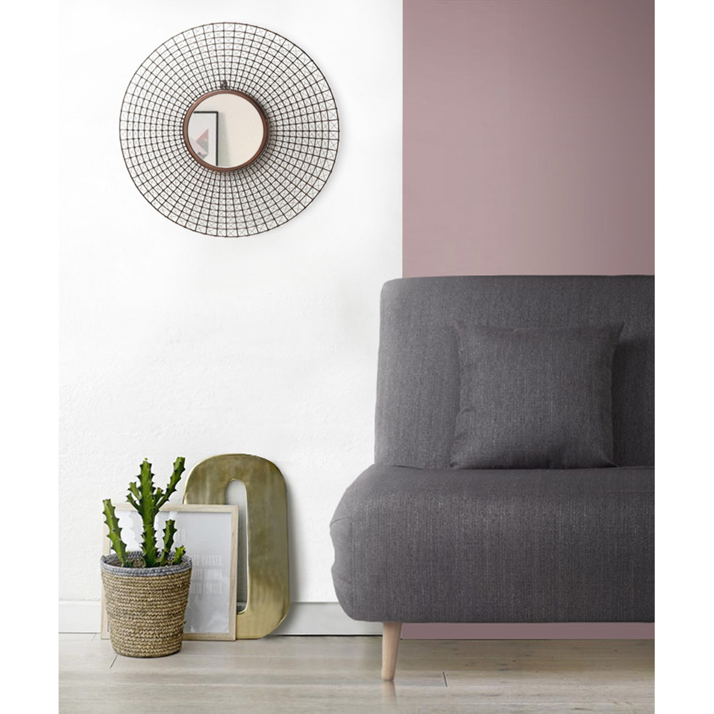 Miroir rond mural tiges m tal cuivre by drawer for Miroir mural rond