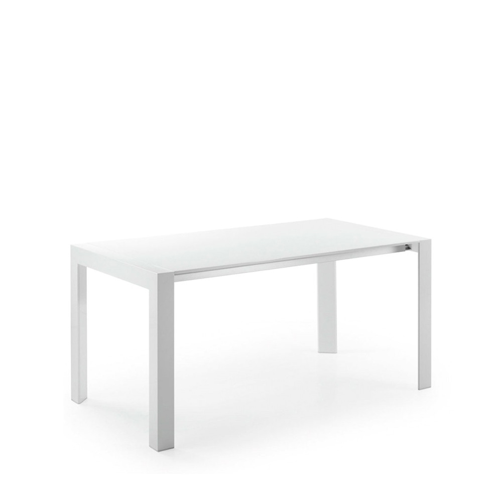Table manger blanche laqu e newport extensible par drawer for Table a manger carre extensible