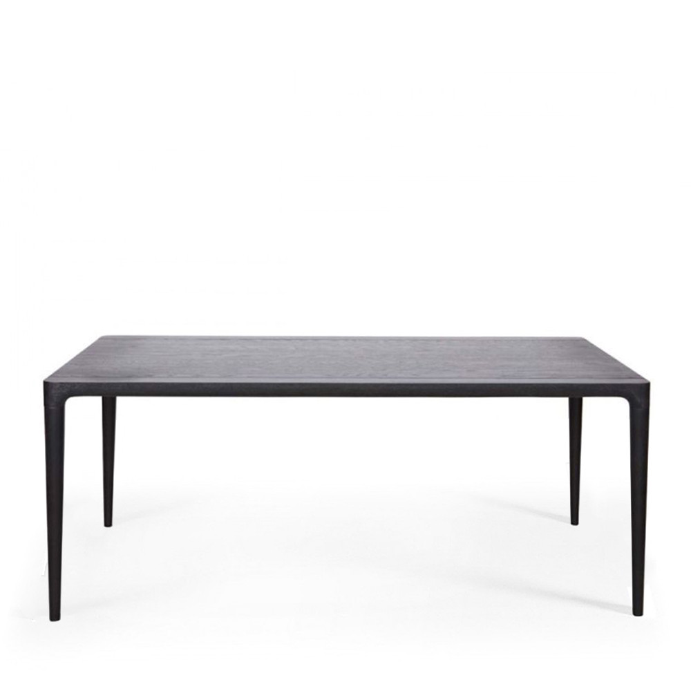 Table manger rectangulaire en fr ne teint noir troy par for Table a manger noir