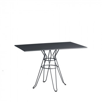 Table de jardin design métal rectangle 110x70 Alameda blanche
