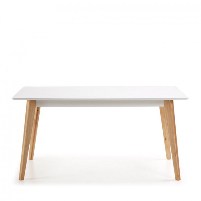 Table manger scandinave blanche et bois melan par drawer - Table a manger laque ...
