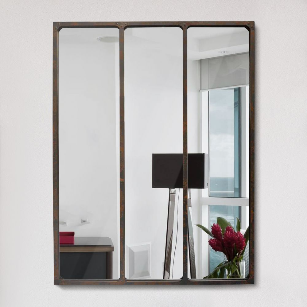 miroir effet verri re style industriel 90x120 l on by drawer