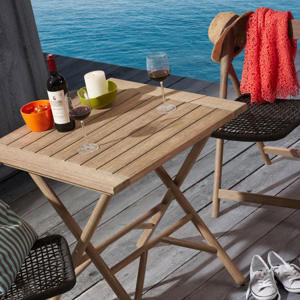 Table pliante en bois 70x70 indoor outdoor rowing by drawer - Table jardin pliante bois ...