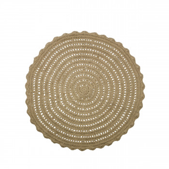 Tapis rond en crochet beige Corn