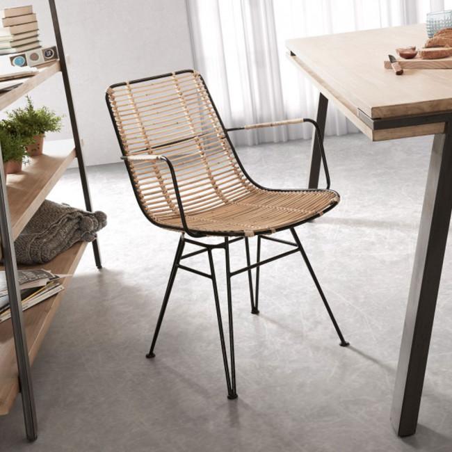Table Bois Metal Design: Table à Manger Design Industriel Bois Massif Et Métal