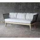 Canapé 3 places de jardin bois et corde Mékong