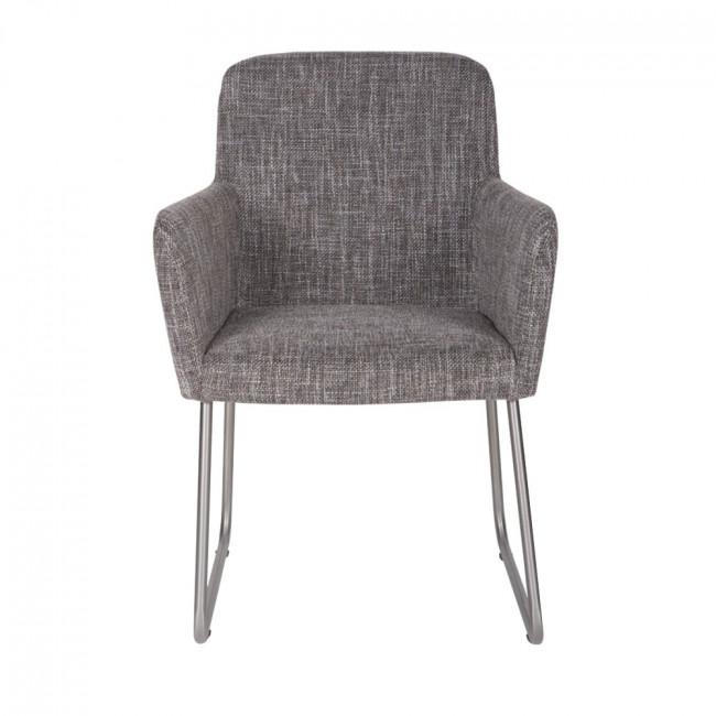 Chaise tissu gris, pieds traîneau & accoudoirs Diantha