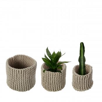 Lot de 3 paniers tricotés en coton Effect
