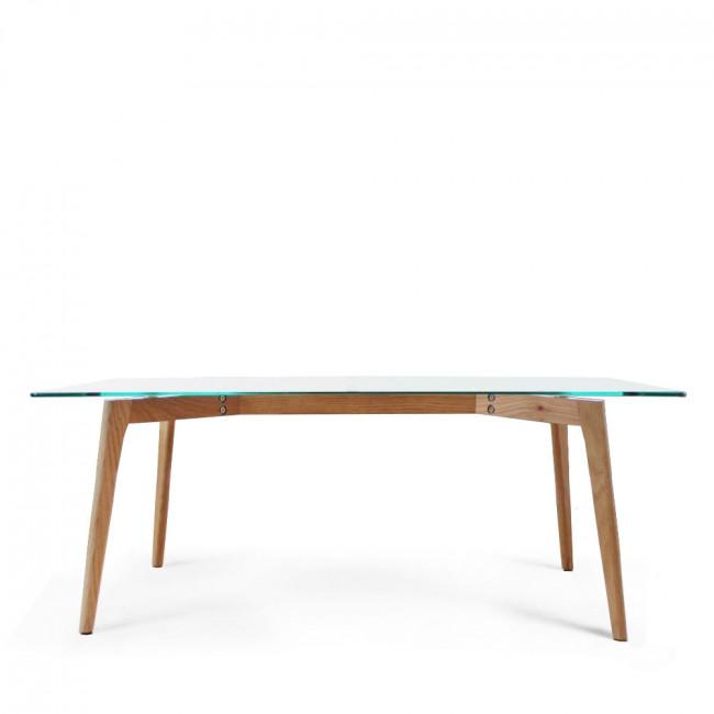 Table basse rectangulaire verre et bois Ingmar