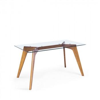Table à manger rectangulaire verre et bois Ingmar