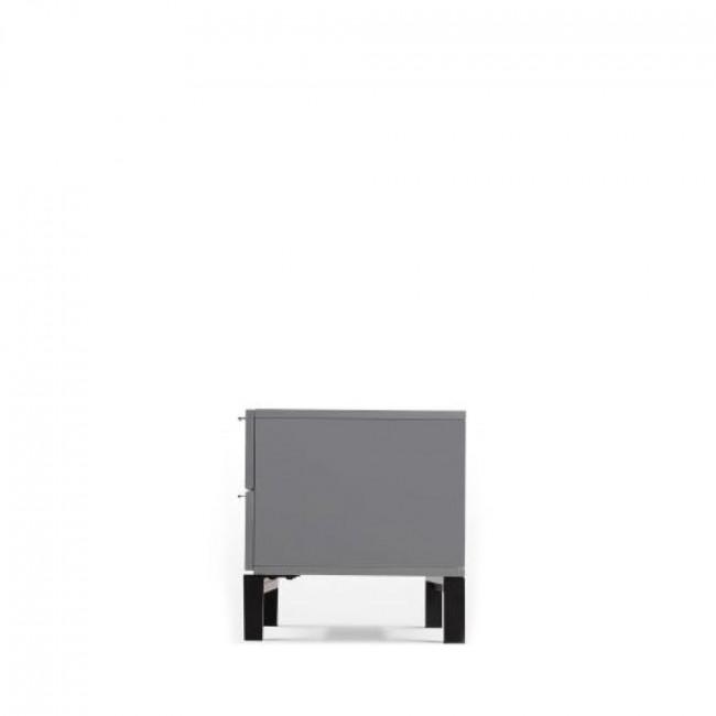 Meuble TV laqué gris design Adrian