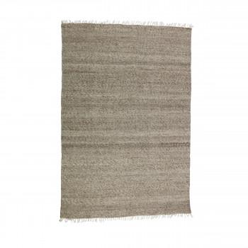 Tapis rayé en laine et coton marron Fields