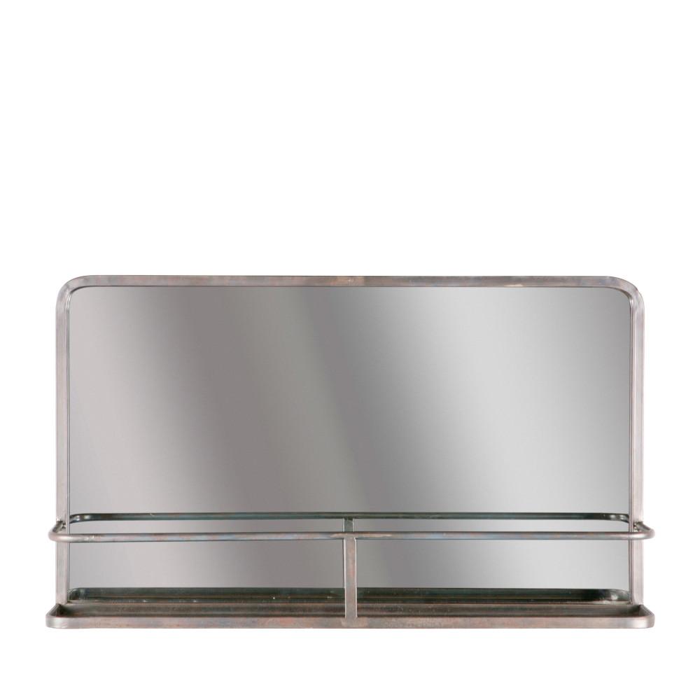 Miroir en m tal avec rangement reflection drawer for Metal miroir
