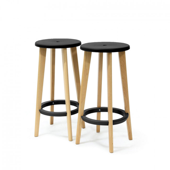 Lot de 2 tabourets de bar bois et noir Harry's