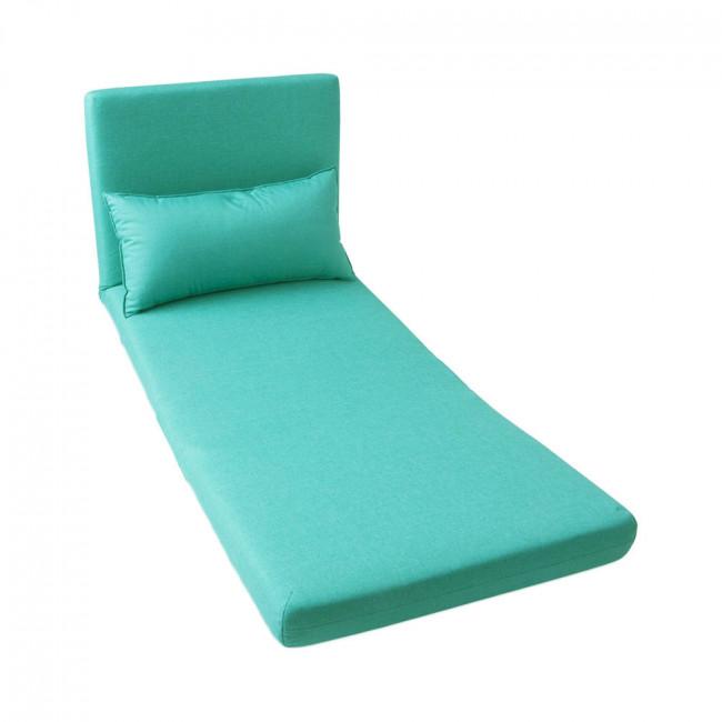 Chauffeuse convertible tissu bleu 1 place Moa