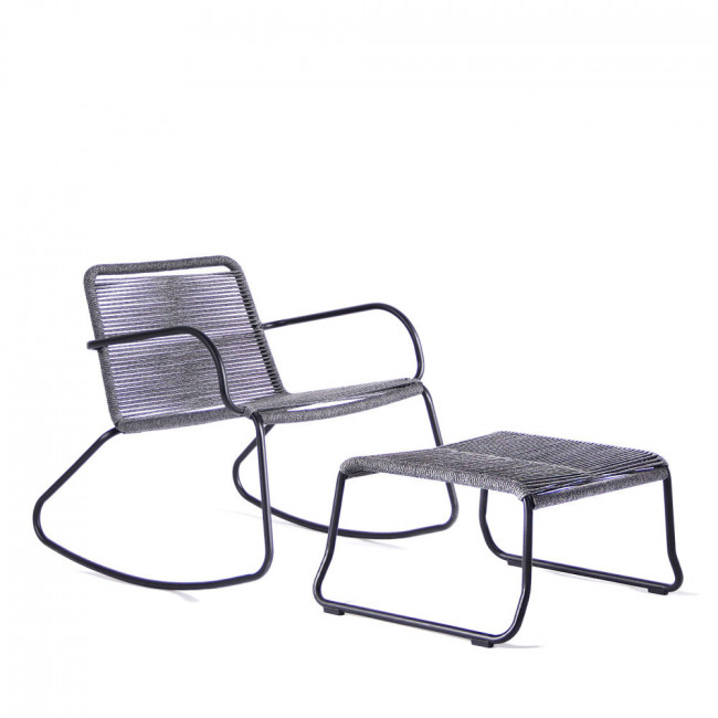 Rocking chair et repose-jambes outdoor Cholon