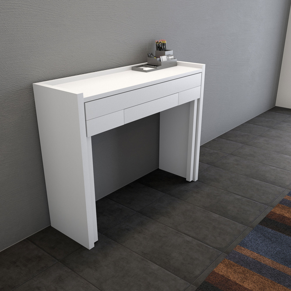 Console bureau extensible 16 mel drawer - Bureau console extensible 2 en 1 ...