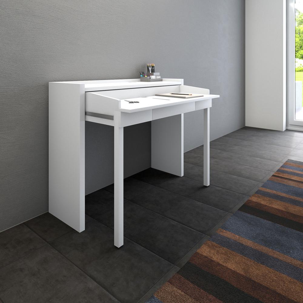 bureau extensible urban bureau extensible 110 cm blanc achat vente bureau urban bureau. Black Bedroom Furniture Sets. Home Design Ideas