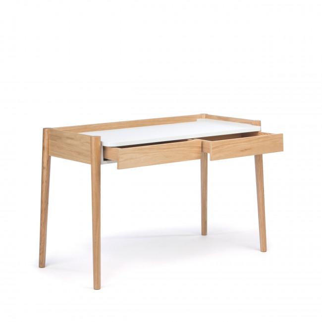 Bureau chêne et laque 2 tiroirs Feldbach tiroirs