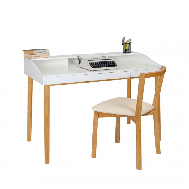 Bureau design scandinave chêne et laque Lindenhof