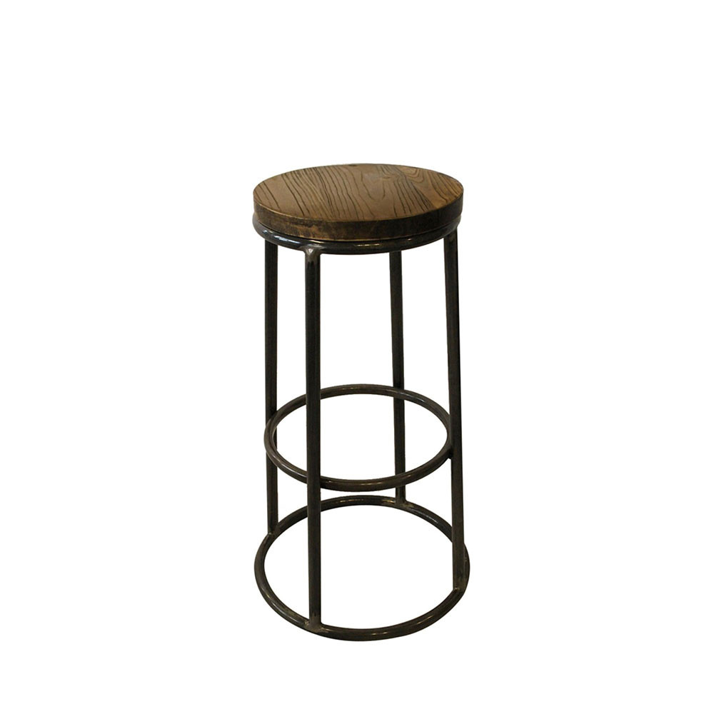 tabouret de bar indus bois m tal fredo par. Black Bedroom Furniture Sets. Home Design Ideas