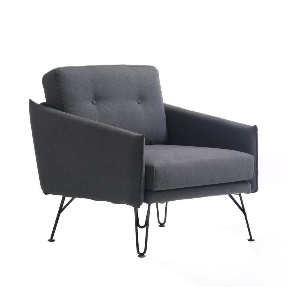Fauteuil design tissu gris burton by drawer - Tissu fauteuil design ...