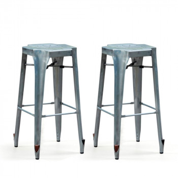 Lot de 2 Tabourets de bar Strong 75cm galvanisé gris
