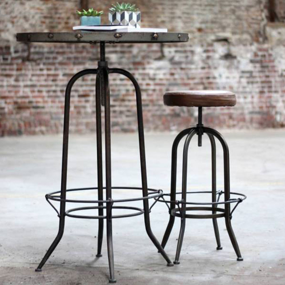 tabouret de bar r glable vintage alhena par. Black Bedroom Furniture Sets. Home Design Ideas