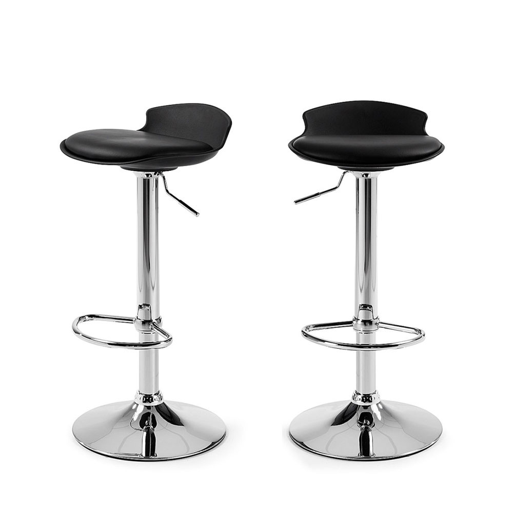 lot de 2 tabourets de bar design uma one noir - Lot De 2 Tabouret De Bar