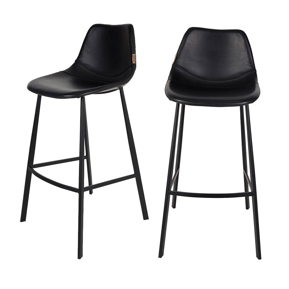 lot de 2 tabourets de bar fa on cuir franky dutchbone. Black Bedroom Furniture Sets. Home Design Ideas