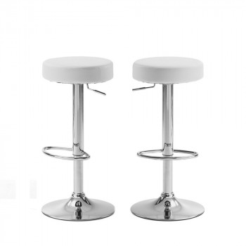 Lot de 2 tabourets de bar design Boda cuir noir