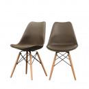 Lot de 2 chaise design scandinave bois métal Nielsen marron café
