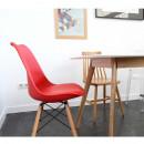 Lot de 2 chaise design scandinave bois métal Nielsen rouge
