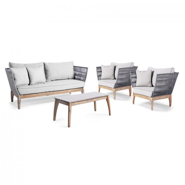 Salon de jardin lounge en bois Nokor