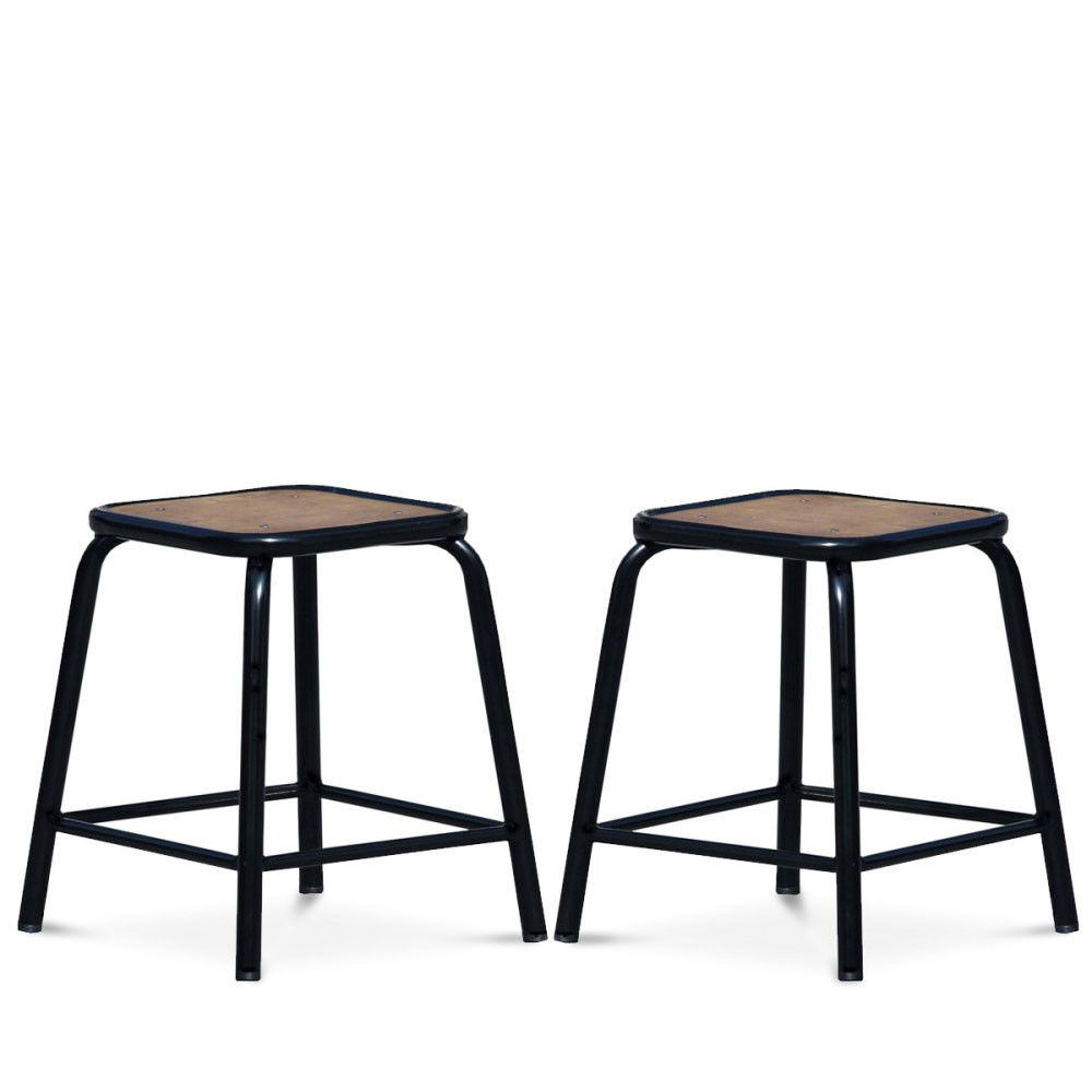 tabouret retro style industriel m tal et bois maitresse x2. Black Bedroom Furniture Sets. Home Design Ideas
