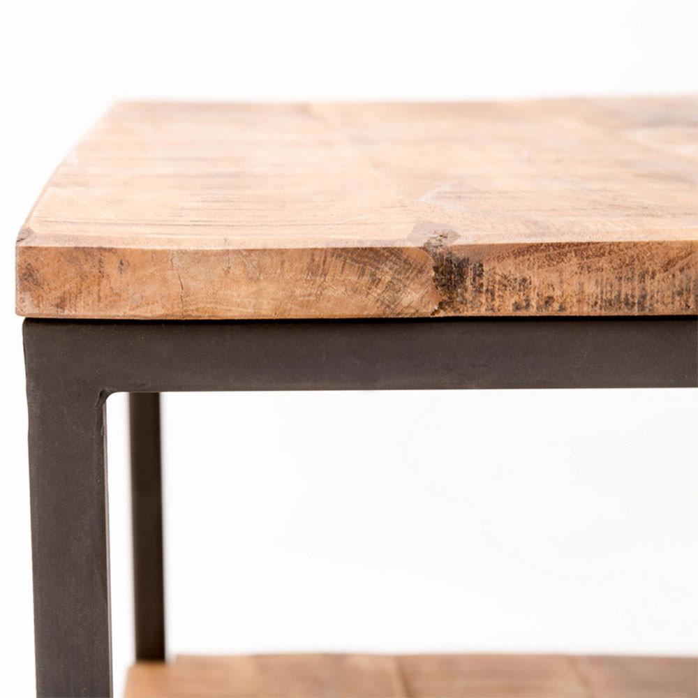 Table basse carr niche bois et m tal jug drawer for Coussin exterieur 80x80