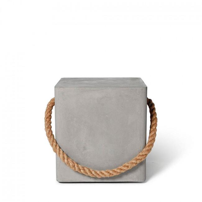 Tabouret en béton roulettes & corde Edge