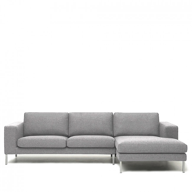 Canapé d'angle droit tissu et métal Biki