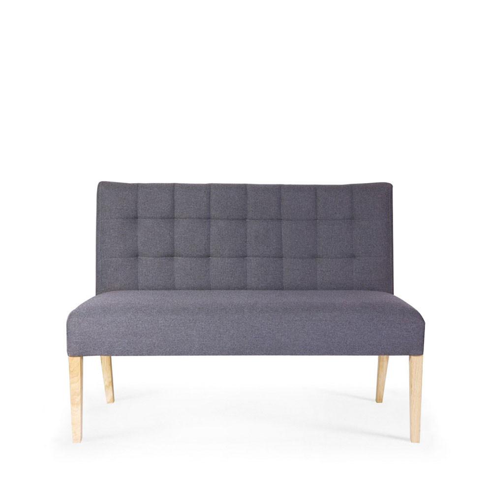 un l gant banc pauwel avec dossier capitonn en tissu gris anthracite ou taupe. Black Bedroom Furniture Sets. Home Design Ideas