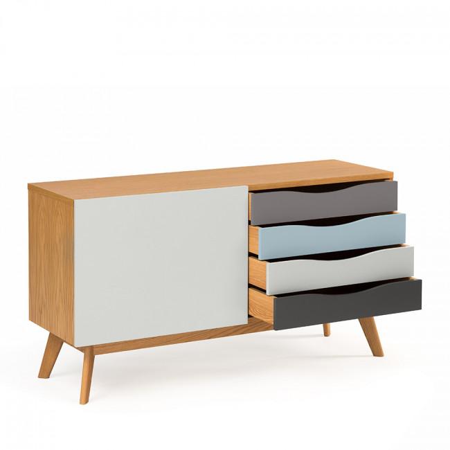Buffet design blanc et gris 4 tiroirs 3 niches Avon de Woodman